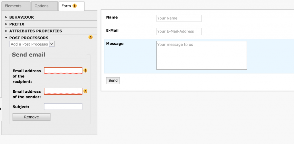 "TYPO3 System Extension ""Form"": Edit form properties"