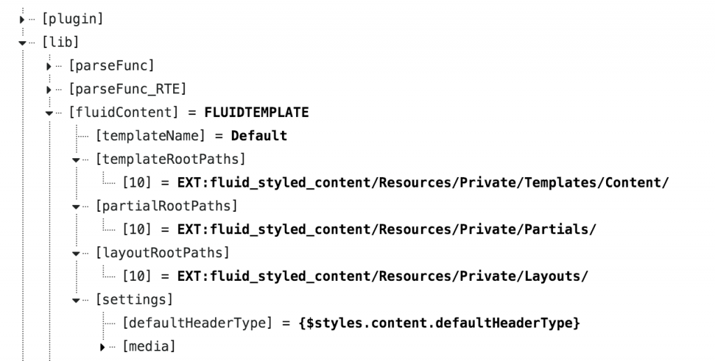 TYPO3 Fluid Styled Content: TypoScript options