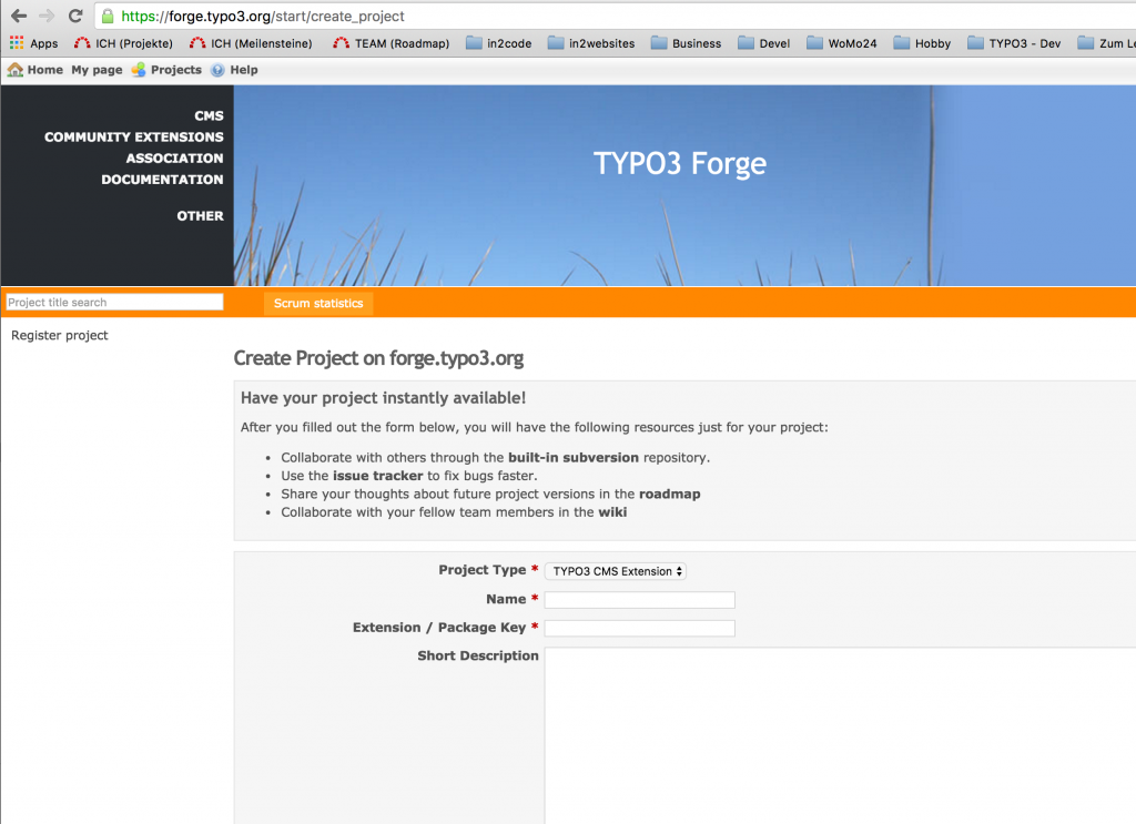 TYPO3 Extension - Register on forge.typo3.org
